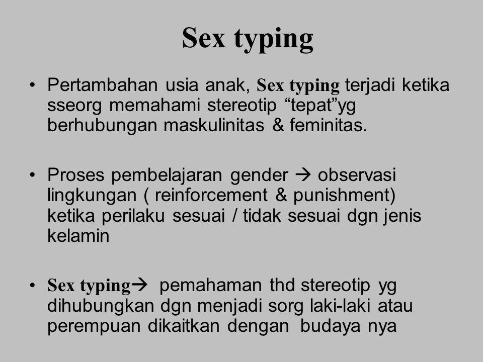 """Sex typing Pertambahan usia anak, Sex typing terjadi ketika sseorg memahami stereotip """"tepat""""yg berhubungan maskulinitas & feminitas. Proses pembelaja"""