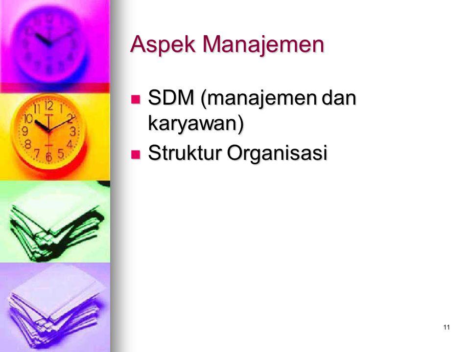 Aspek Manajemen SDM (manajemen dan karyawan) SDM (manajemen dan karyawan) Struktur Organisasi Struktur Organisasi 11