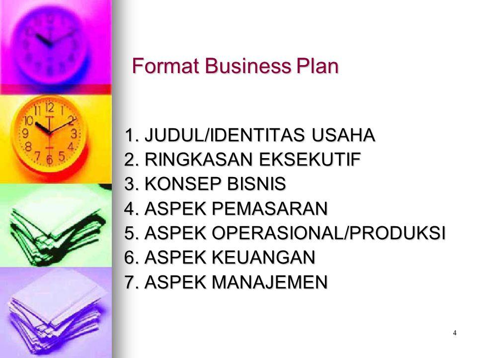 4 Format Business Plan 1.JUDUL/IDENTITAS USAHA 2.