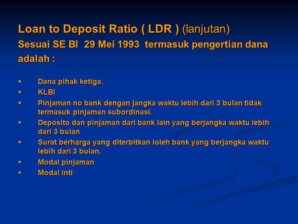 Loan to Deposit Ratio ( LDR ) (lanjutan) Sesuai SE BI 29 Mei 1993 termasuk pengertian dana adalah :  Dana pihak ketiga.  KLBI  Pinjaman no bank den