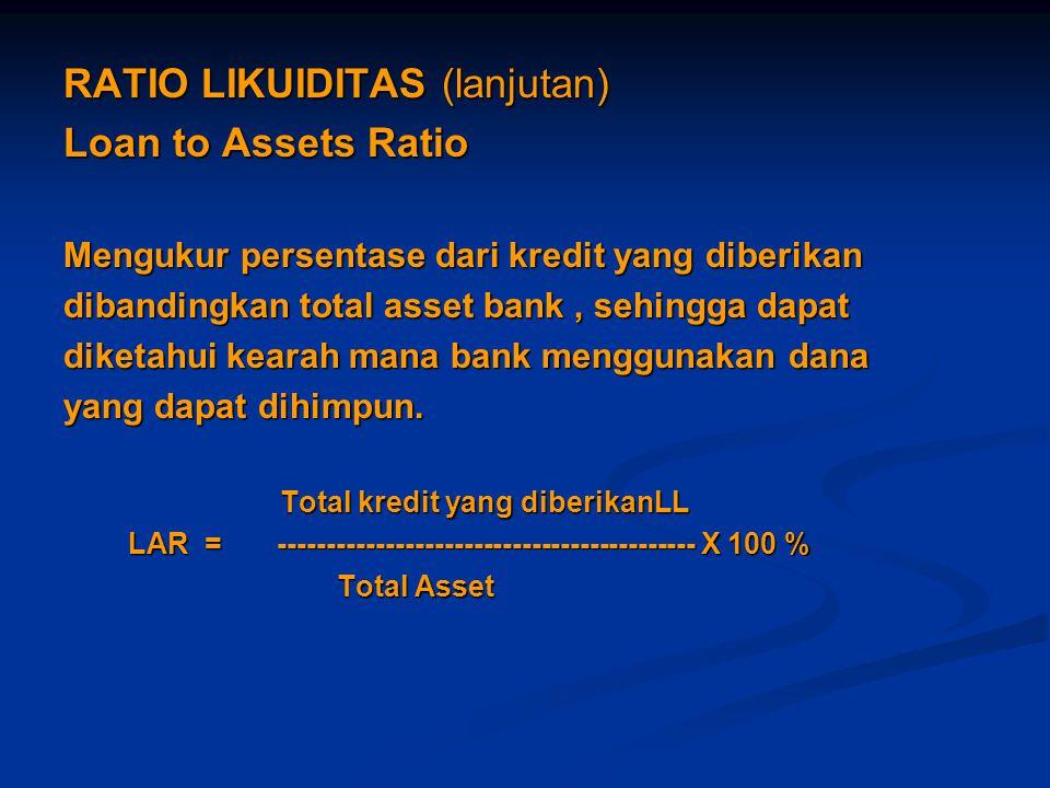 RATIO LIKUIDITAS (lanjutan) Loan to Assets Ratio Mengukur persentase dari kredit yang diberikan dibandingkan total asset bank, sehingga dapat diketahu