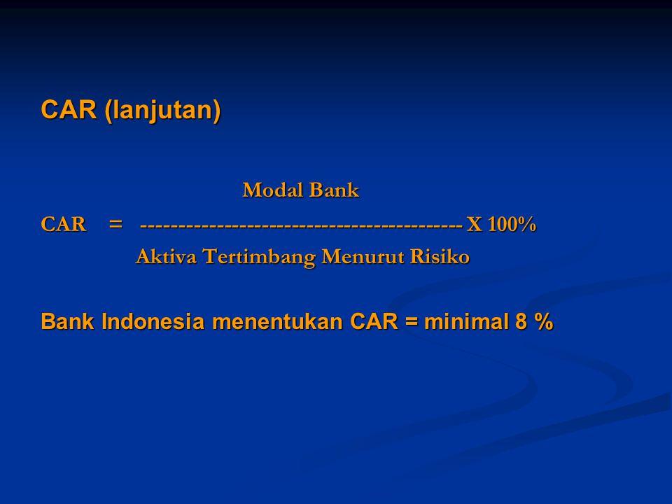 CAR (lanjutan) Modal Bank Modal Bank CAR = ------------------------------------------- X 100% Aktiva Tertimbang Menurut Risiko Aktiva Tertimbang Menur