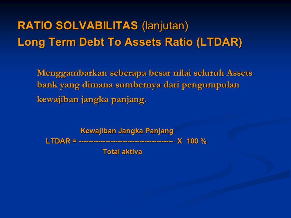 RATIO SOLVABILITAS (lanjutan) Long Term Debt To Assets Ratio (LTDAR) Menggambarkan seberapa besar nilai seluruh Assets bank yang dimana sumbernya dari