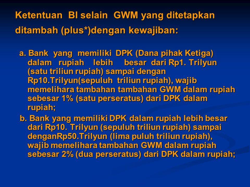 Ketentuan BI selain GWM yang ditetapkan ditambah (plus*)dengan kewajiban: a. Bank yang memiliki DPK (Dana pihak Ketiga) dalam rupiah lebih besar dari