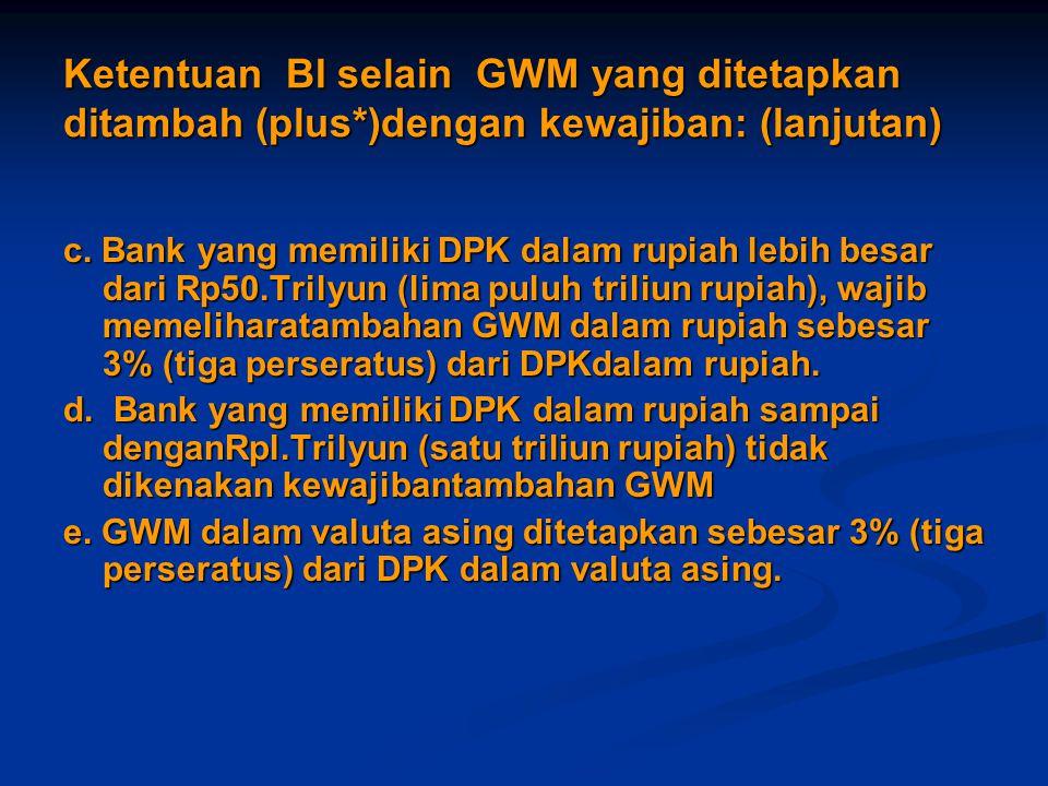 Ketentuan BI selain GWM yang ditetapkan ditambah (plus*)dengan kewajiban: (lanjutan) c. Bank yang memiliki DPK dalam rupiah lebih besar dari Rp50.Tril