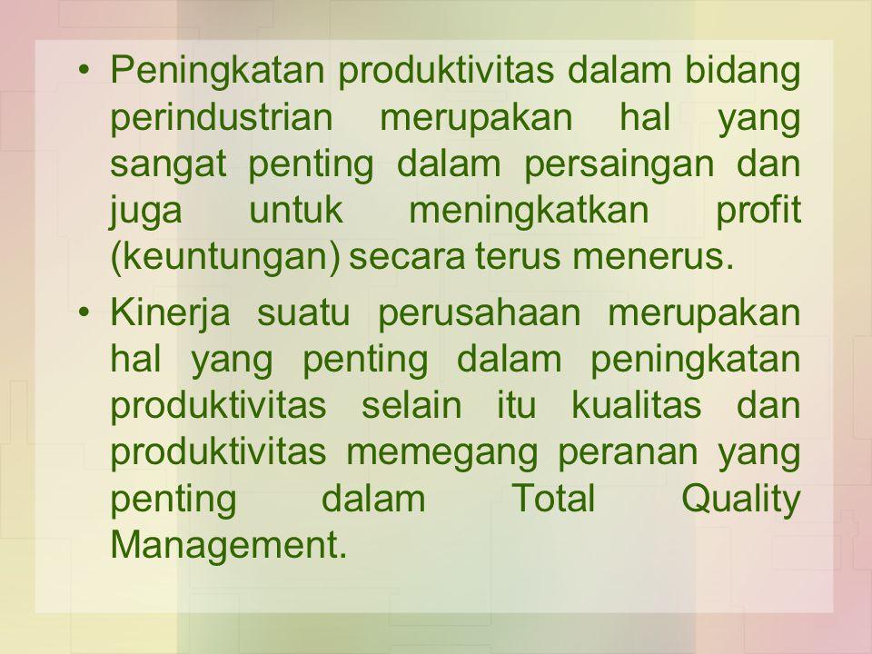 Peningkatan produktivitas dalam bidang perindustrian merupakan hal yang sangat penting dalam persaingan dan juga untuk meningkatkan profit (keuntungan
