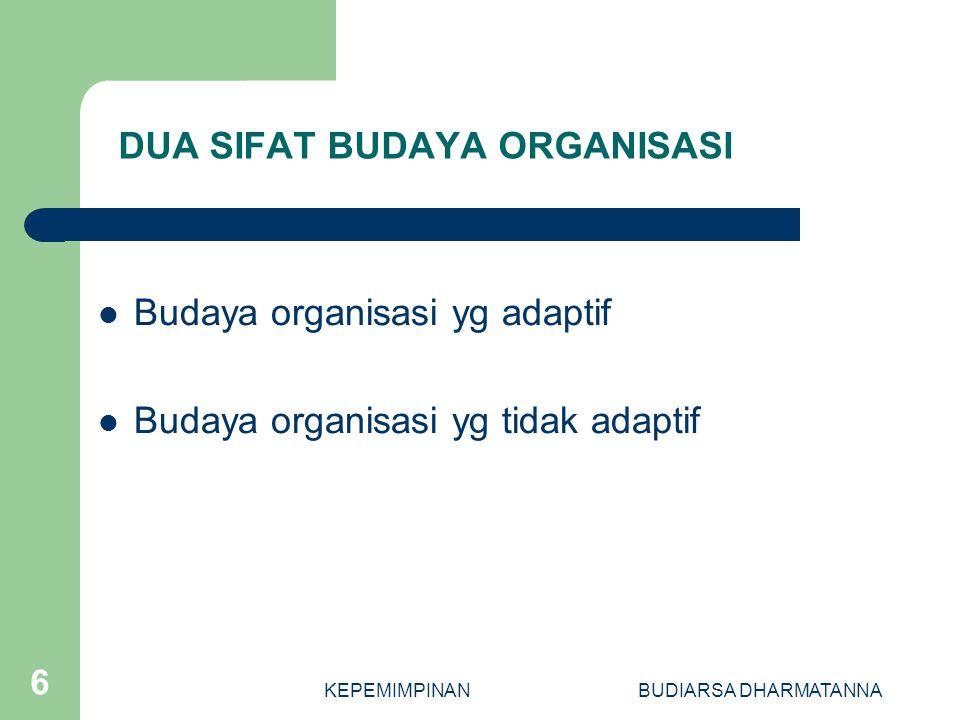 KEPEMIMPINANBUDIARSA DHARMATANNA 5 FUNGSI UTAMA BUDAYA ORGANISASI Sebagai proses integrasi internal Sebagai proses adaptasi eksternal