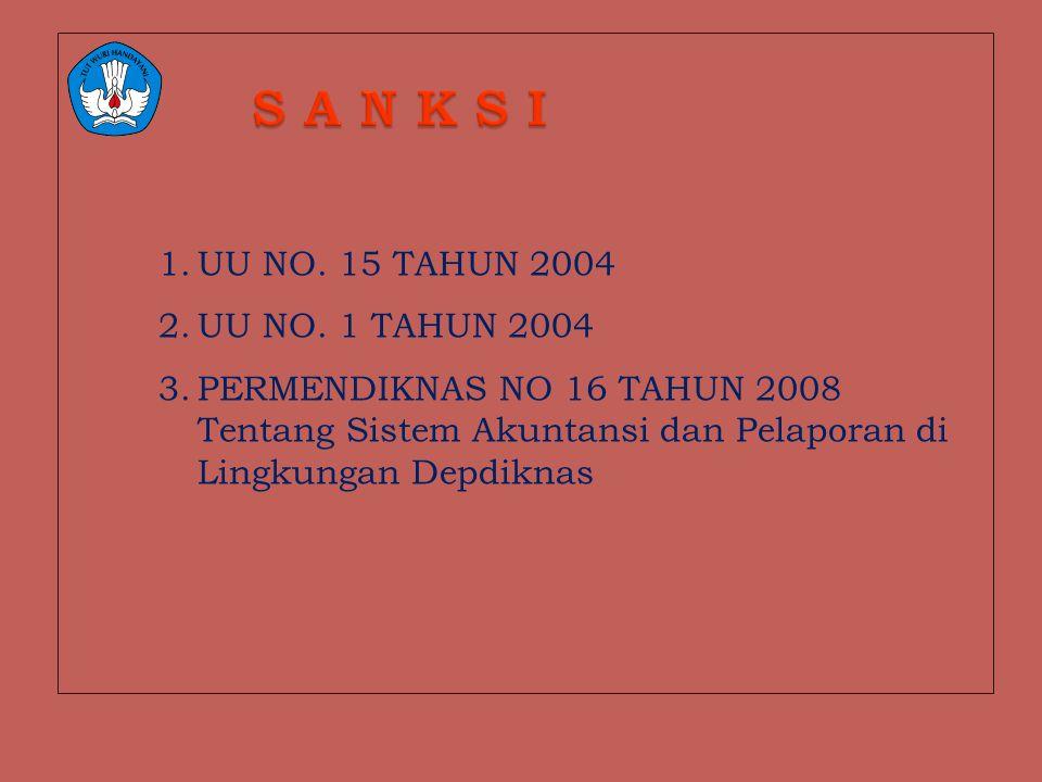 1.UU NO. 15 TAHUN 2004 2.UU NO. 1 TAHUN 2004 3.PERMENDIKNAS NO 16 TAHUN 2008 Tentang Sistem Akuntansi dan Pelaporan di Lingkungan Depdiknas