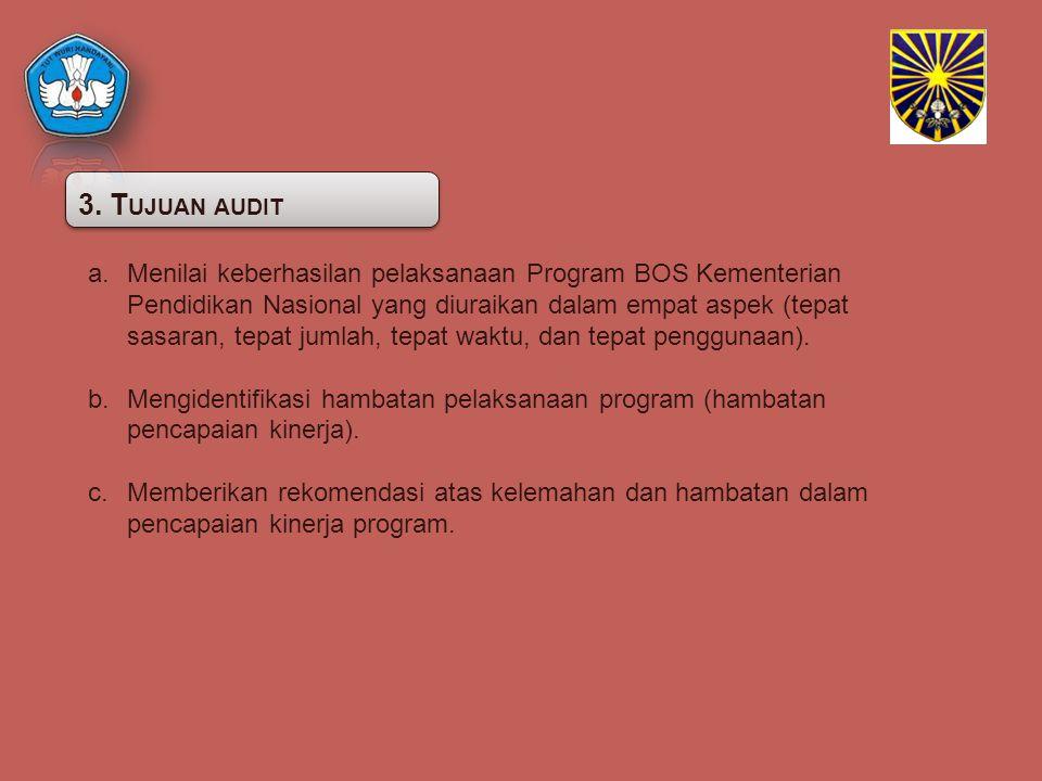 3. T UJUAN AUDIT a.Menilai keberhasilan pelaksanaan Program BOS Kementerian Pendidikan Nasional yang diuraikan dalam empat aspek (tepat sasaran, tepat