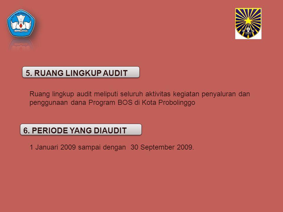 Ruang lingkup audit meliputi seluruh aktivitas kegiatan penyaluran dan penggunaan dana Program BOS di Kota Probolinggo 6. PERIODE YANG DIAUDIT 5. RUAN