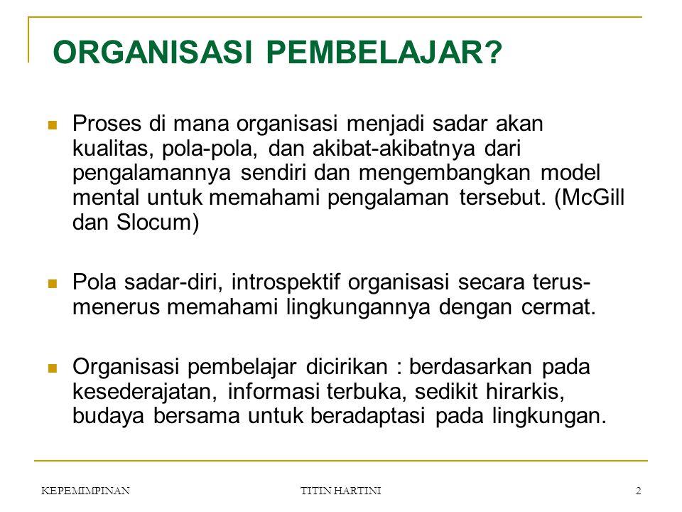 KEPEMIMPINANTITIN HARTINI1 KEPEMIMPINAN & ORGANISASI PEMBELAJAR PERTEMUAN 10