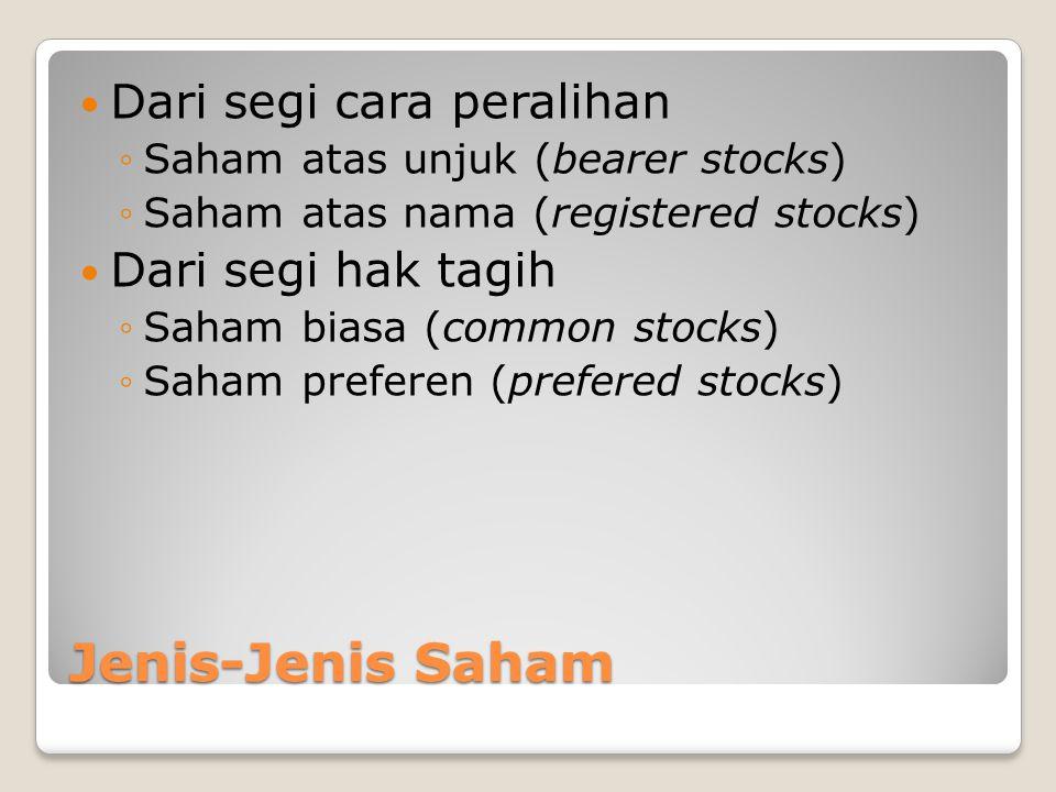 Jenis-Jenis Saham Dari segi cara peralihan ◦Saham atas unjuk (bearer stocks) ◦Saham atas nama (registered stocks) Dari segi hak tagih ◦Saham biasa (co