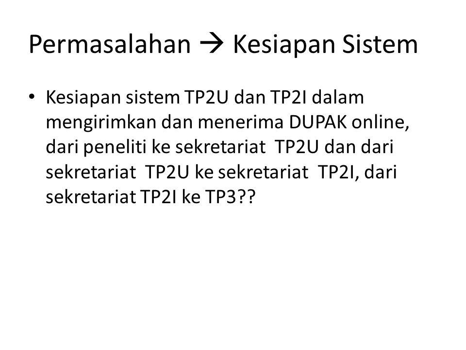 Permasalahan  Kesiapan Sistem Kesiapan sistem TP2U dan TP2I dalam mengirimkan dan menerima DUPAK online, dari peneliti ke sekretariat TP2U dan dari sekretariat TP2U ke sekretariat TP2I, dari sekretariat TP2I ke TP3??