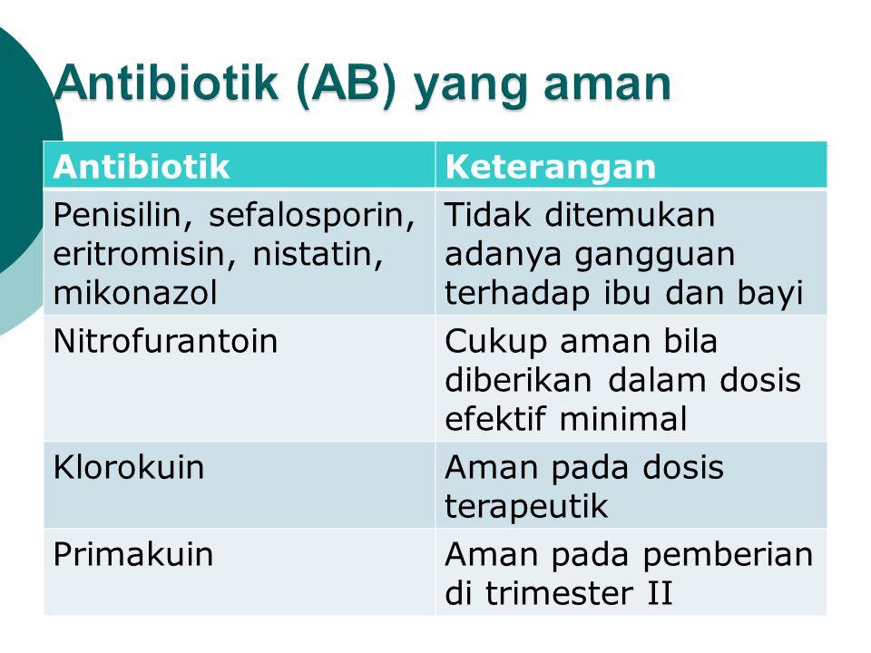 AntibiotikKeterangan Penisilin, sefalosporin, eritromisin, nistatin, mikonazol Tidak ditemukan adanya gangguan terhadap ibu dan bayi NitrofurantoinCukup aman bila diberikan dalam dosis efektif minimal KlorokuinAman pada dosis terapeutik PrimakuinAman pada pemberian di trimester II