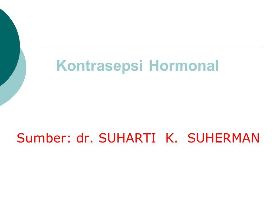 Kontrasepsi Hormonal Sumber: dr. SUHARTI K. SUHERMAN