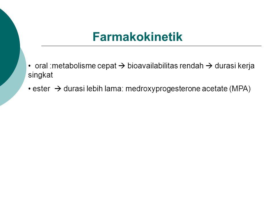 Farmakokinetik oral :metabolisme cepat  bioavailabilitas rendah  durasi kerja singkat ester  durasi lebih lama: medroxyprogesterone acetate (MPA)