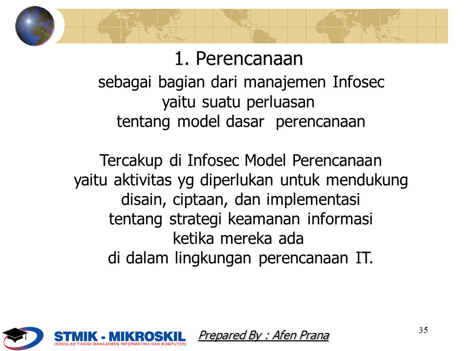 35 1. Perencanaan sebagai bagian dari manajemen Infosec yaitu suatu perluasan tentang model dasar perencanaan Tercakup di Infosec Model Perencanaan ya