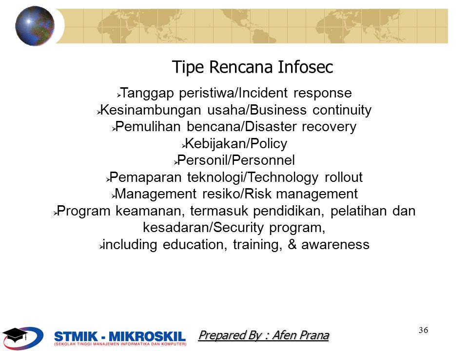 36  Tanggap peristiwa/Incident response  Kesinambungan usaha/Business continuity  Pemulihan bencana/Disaster recovery  Kebijakan/Policy  Personil