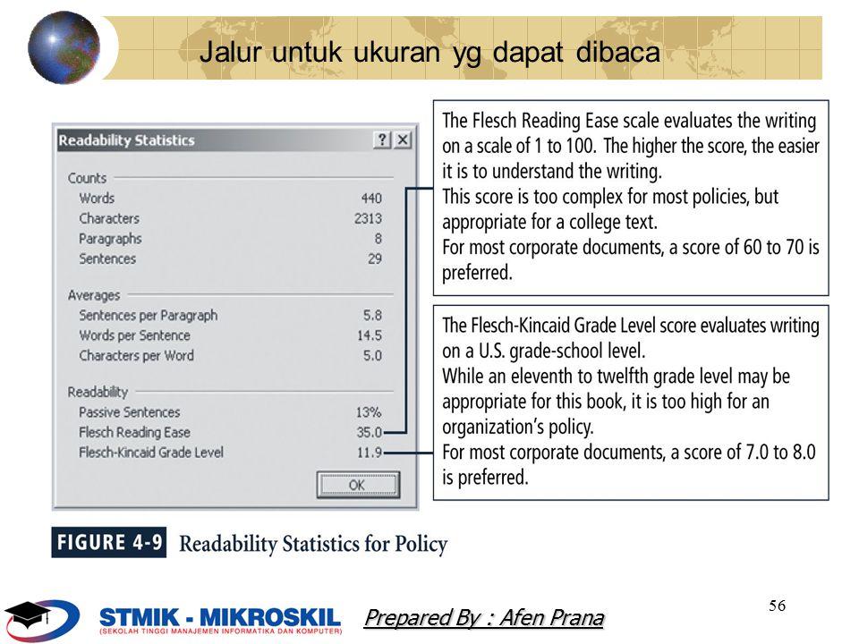 56 Jalur untuk ukuran yg dapat dibaca Prepared By : Afen Prana