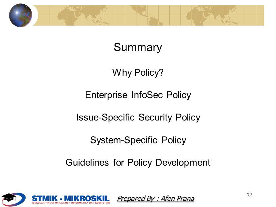 72 Summary Why Policy.
