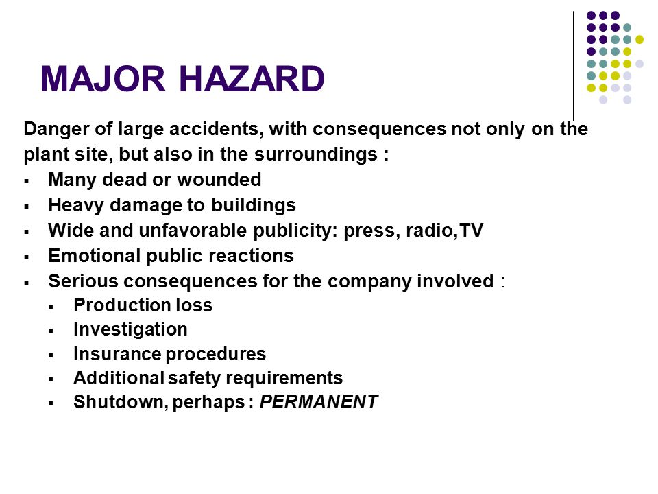 DESIGNATION OF MAJOR HAZARD PLANT List of Substances considered to be dangerous Threshold Quantities for each of substances on the list