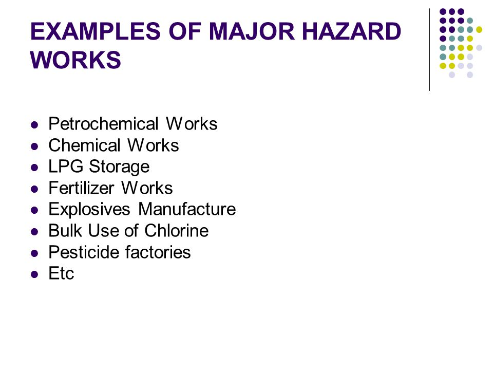 EXAMPLES OF MAJOR HAZARD WORKS Petrochemical Works Chemical Works LPG Storage Fertilizer Works Explosives Manufacture Bulk Use of Chlorine Pesticide factories Etc