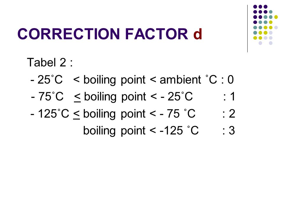 CORRECTION FACTOR d Tabel 2 : - 25˚C < boiling point < ambient ˚C : 0 - 75˚C < boiling point < - 25˚C : 1 - 125˚C < boiling point < - 75 ˚C : 2 boiling point < -125 ˚C : 3