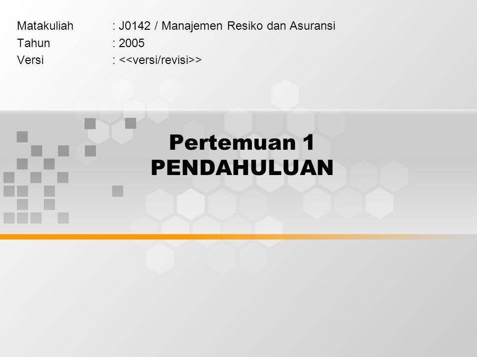 Pertemuan 1 PENDAHULUAN Matakuliah: J0142 / Manajemen Resiko dan Asuransi Tahun: 2005 Versi: >