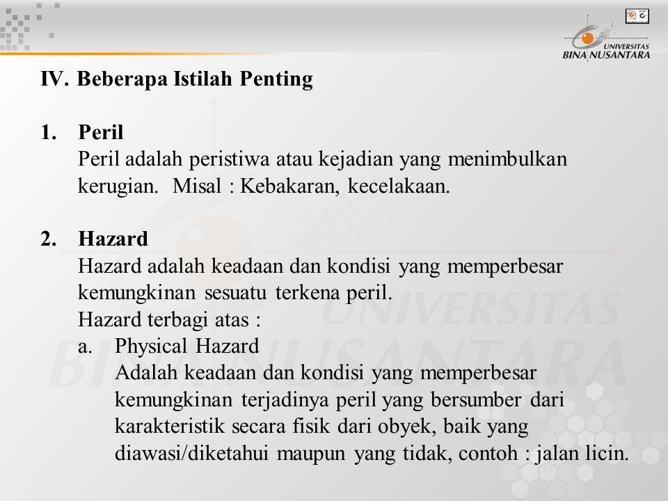 IV. Beberapa Istilah Penting 1.Peril Peril adalah peristiwa atau kejadian yang menimbulkan kerugian. Misal : Kebakaran, kecelakaan. 2.Hazard Hazard ad