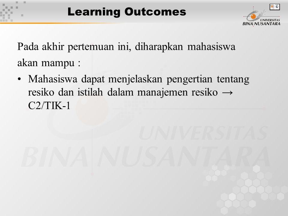 Learning Outcomes Pada akhir pertemuan ini, diharapkan mahasiswa akan mampu : Mahasiswa dapat menjelaskan pengertian tentang resiko dan istilah dalam