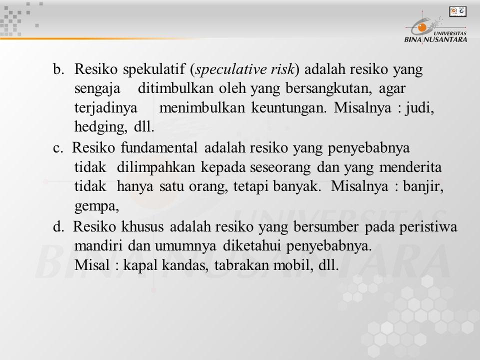 b. Resiko spekulatif (speculative risk) adalah resiko yang sengaja ditimbulkan oleh yang bersangkutan, agar terjadinya menimbulkan keuntungan. Misalny