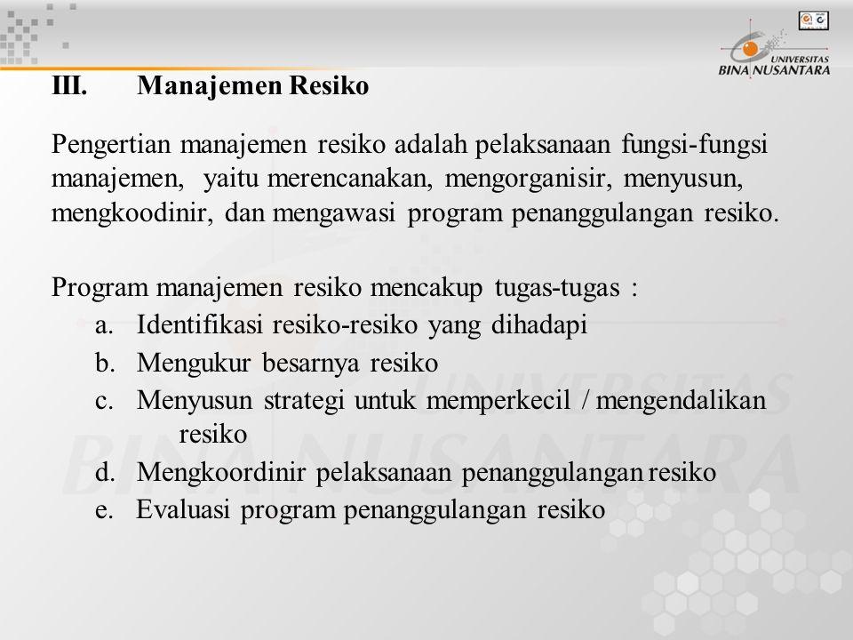 III. Manajemen Resiko Pengertian manajemen resiko adalah pelaksanaan fungsi-fungsi manajemen, yaitu merencanakan, mengorganisir, menyusun, mengkoodini