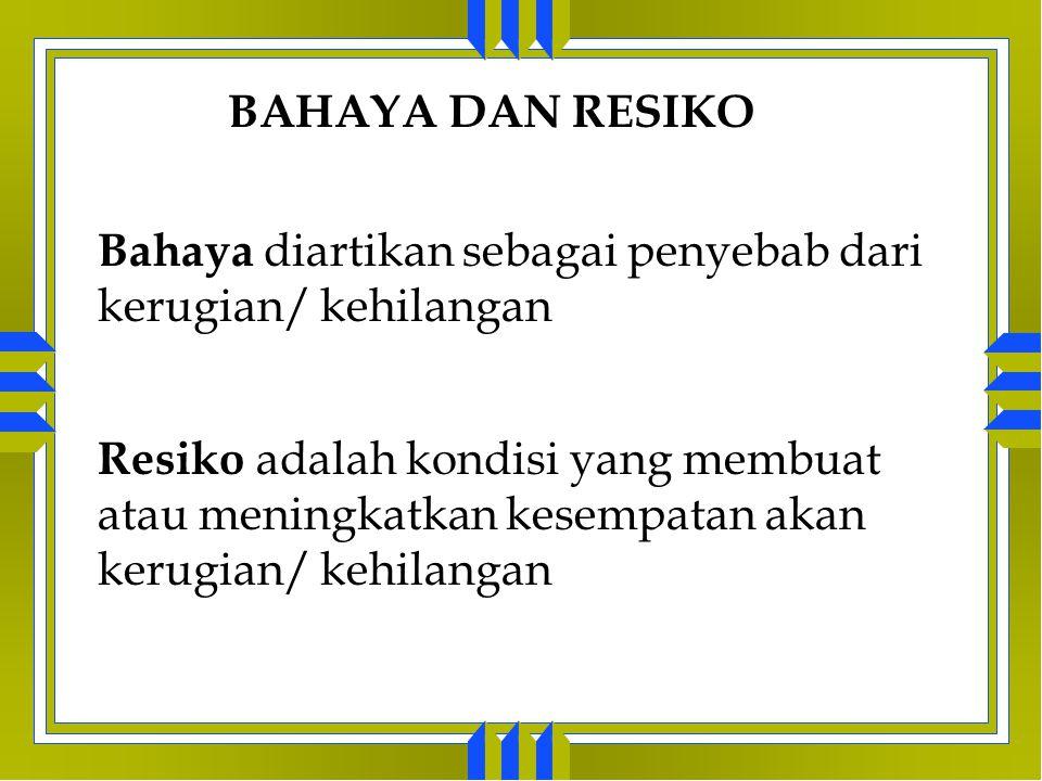 BENTUK RESIKO 1. Resiko Objektif Resiko objektif (juga disebut degree of risk ) diartikan sebagai variasi yang relatif dalam kerugian yang aktual dari
