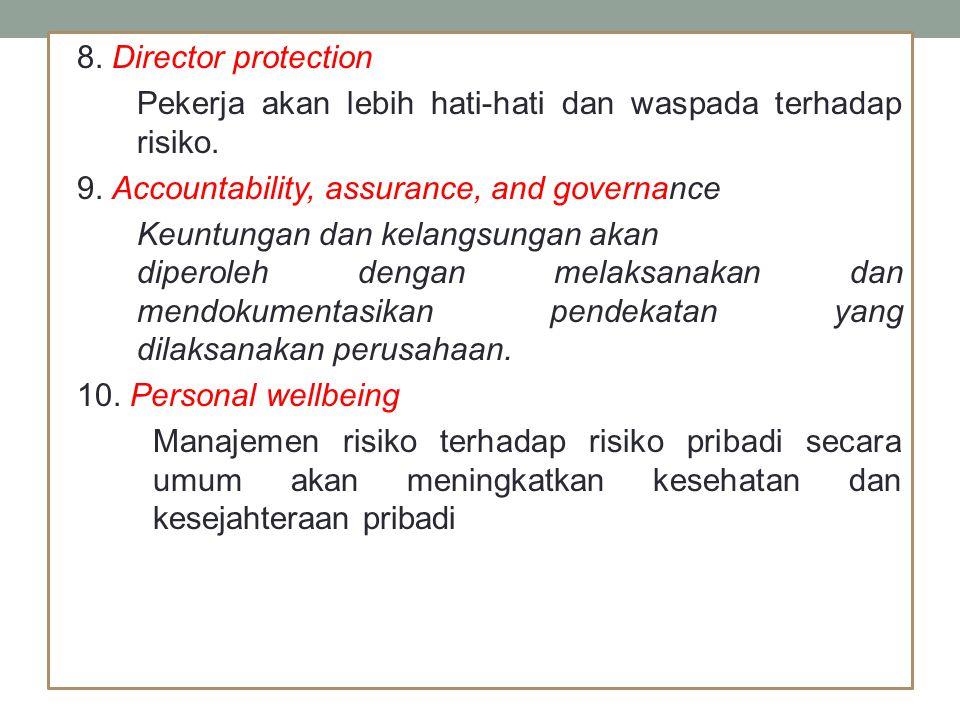 Komponen utama dalam manajemen risiko yang dikeluarkan AS/NZS 4360:2004, antara lain : Komunikasi dan Konsultasi Penetapan Tujuan Identifikasi Risiko Analisis Risiko Evaluasi Risiko Pengendalian Risiko Monitor dan Review