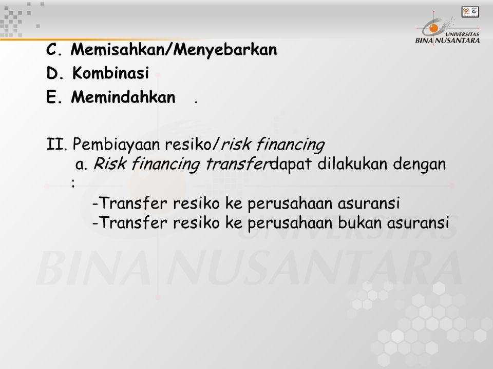 C. Memisahkan/Menyebarkan D. Kombinasi E.Memindahkan. II. Pembiayaan resiko/risk financing a. Risk financing transferdapat dilakukan dengan : -Transfe