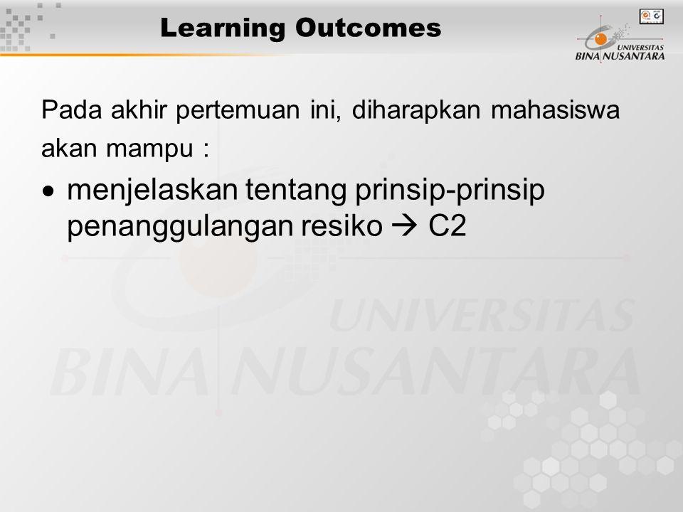 Learning Outcomes Pada akhir pertemuan ini, diharapkan mahasiswa akan mampu :  menjelaskan tentang prinsip-prinsip penanggulangan resiko  C2