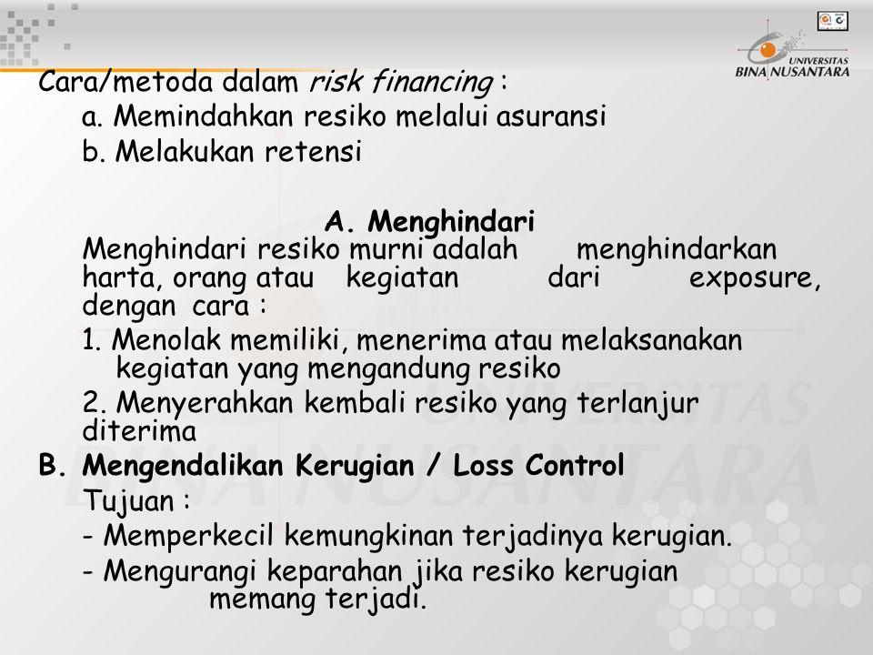 Cara/metoda dalam risk financing : a. Memindahkan resiko melalui asuransi b. Melakukan retensi A.Menghindari Menghindari resiko murni adalah menghinda