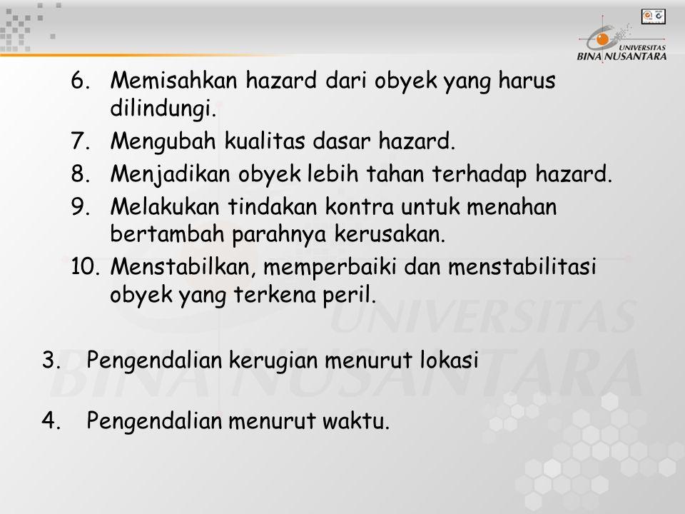 6.Memisahkan hazard dari obyek yang harus dilindungi. 7.Mengubah kualitas dasar hazard. 8.Menjadikan obyek lebih tahan terhadap hazard. 9.Melakukan ti