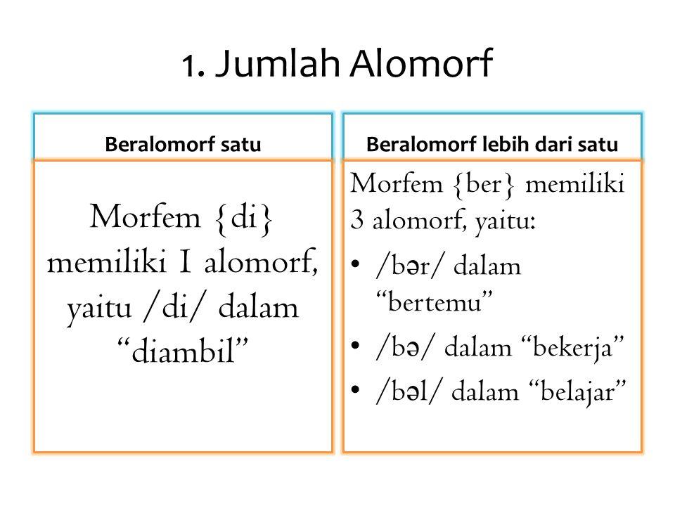 """1. Jumlah Alomorf Beralomorf satu Morfem {di} memiliki 1 alomorf, yaitu /di/ dalam """"diambil"""" Beralomorf lebih dari satu Morfem {ber} memiliki 3 alomor"""