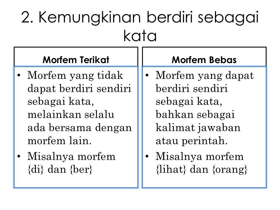 2. Kemungkinan berdiri sebagai kata Morfem Terikat Morfem yang tidak dapat berdiri sendiri sebagai kata, melainkan selalu ada bersama dengan morfem la