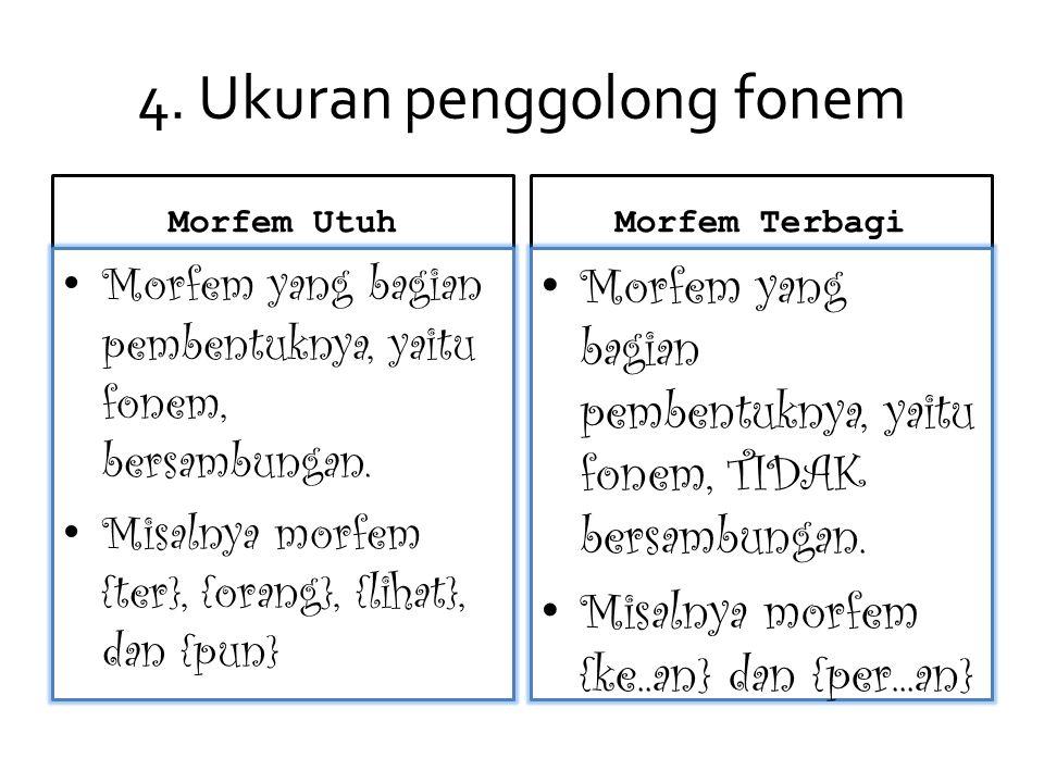4.Ukuran penggolong fonem Morfem Utuh Morfem yang bagian pembentuknya, yaitu fonem, bersambungan.