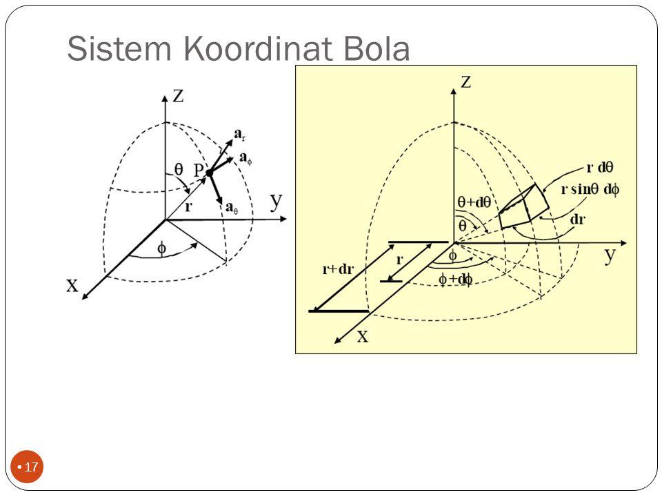 Sistem Koordinat Bola 16 z y x r   (r, ,  nb : harga  adalah 0 sampai  , bukan 0 sampai 2  Lihat lagi kuantitas diferensial: dV, dS and d !