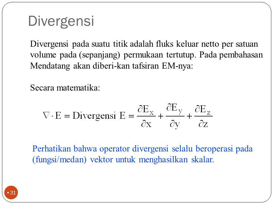 Rapat fluks 30 Operator divergensi dinyatakan sbg  dan selalu beroperasi pada vektor.