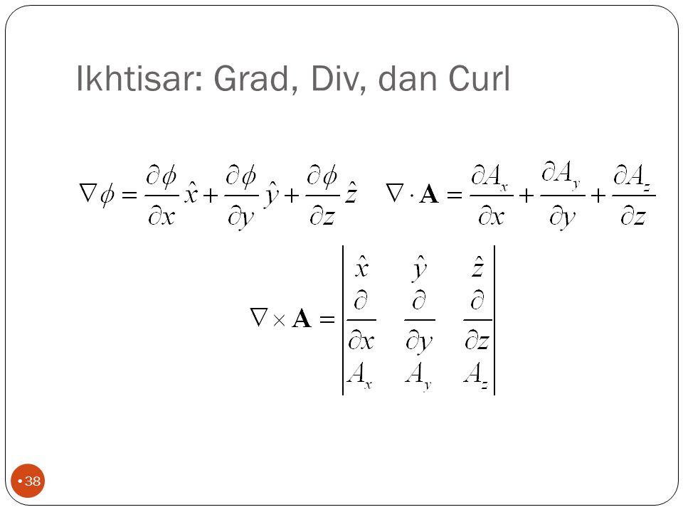 Laplacian (2) 37 Laplacian bisa juga ber-operasi pada vektor Jika Maka, Dapat juga ditunjukkan bahwa: curl curl dari E