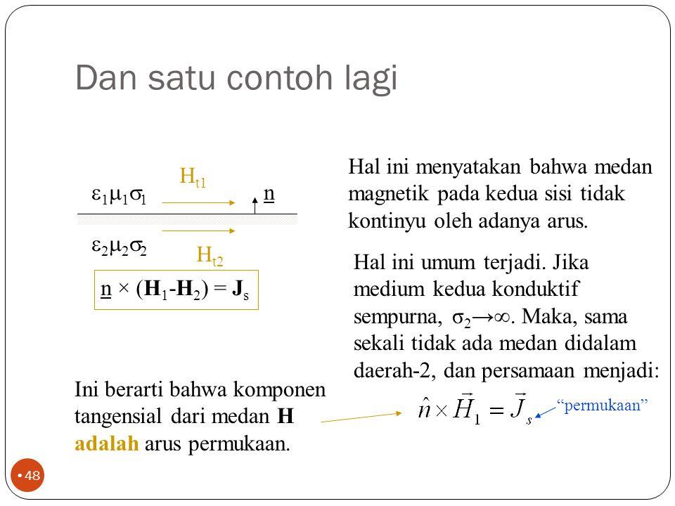 Lihat contoh berikut 47 E t1 n 111111 222222 E t2 E tangensial kontinyu Hal ini menyatakan bahwa medan (listrik) tangensial dalam daerah-1 adalah sama dengan medan (listrik) tangensial pada daerah-2.