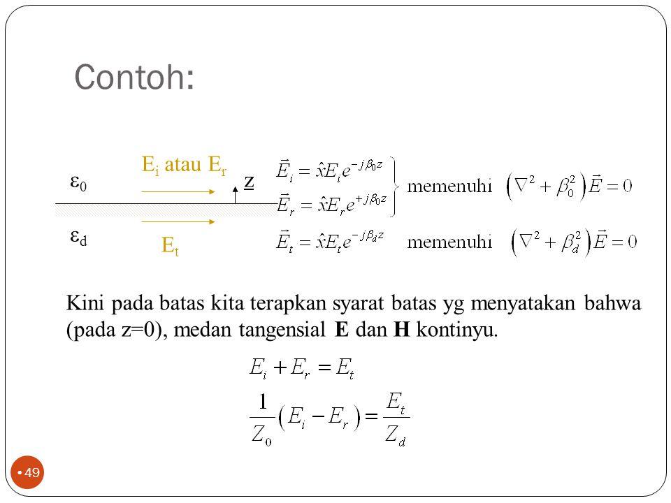 Dan satu contoh lagi 48 n 111111 222222 H t2 H t1 n × (H 1 -H 2 ) = J s Hal ini menyatakan bahwa medan magnetik pada kedua sisi tidak kontinyu oleh adanya arus.