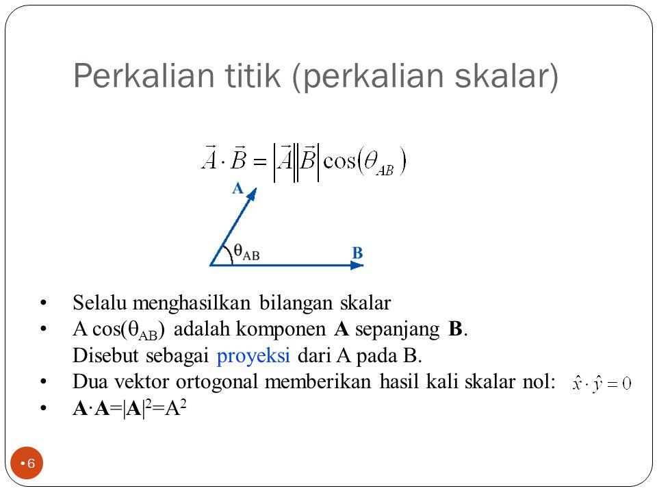 Vektor posisi dan vektor jarak 5 Contoh : Titik P (1,2,3) dan Q (2,-2,1) Vektor posisi OP = r P = a x + 2a y + 3 a z Vektor posisi OQ = r Q = 2a x - 2a y + a z Vektor jarak R PQ = r Q - r P = a x - 4a y - 2 a z