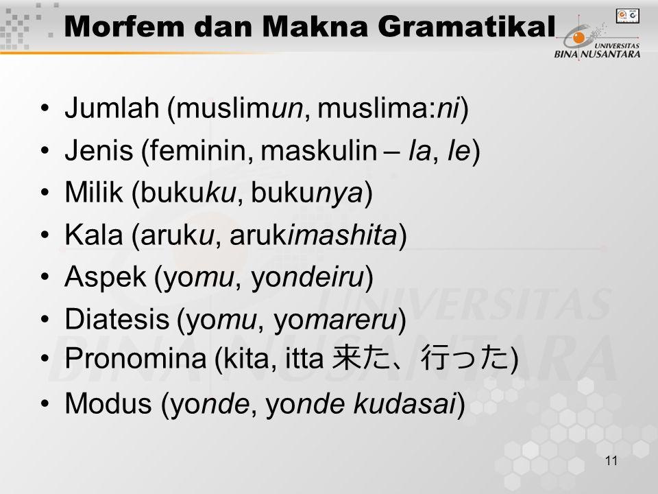 11 Morfem dan Makna Gramatikal Jumlah (muslimun, muslima:ni) Jenis (feminin, maskulin – la, le) Milik (bukuku, bukunya) Kala (aruku, arukimashita) Asp