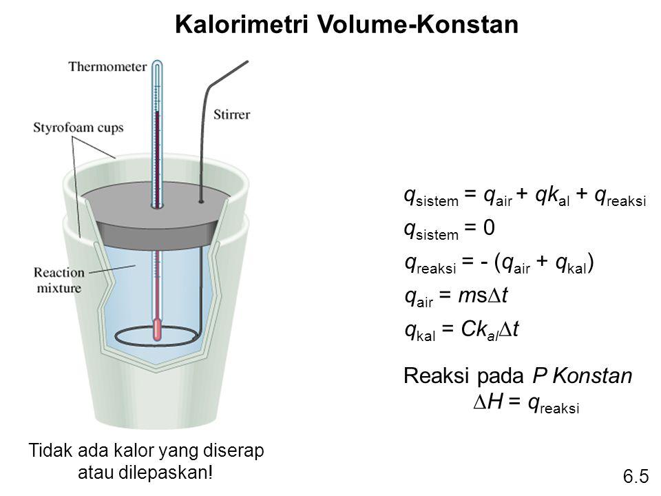 Kalorimetri Volume-Konstan Tidak ada kalor yang diserap atau dilepaskan! q sistem = q air + qk al + q reaksi q sistem = 0 q reaksi = - (q air + q kal