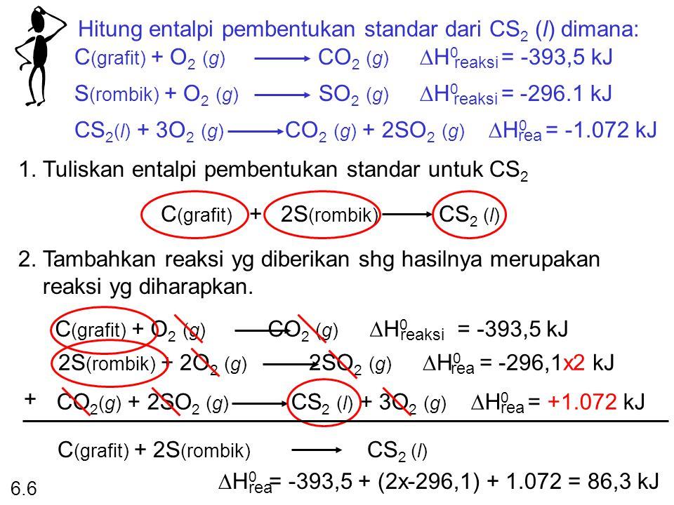Hitung entalpi pembentukan standar dari CS 2 (l) dimana: C (grafit) + O 2 (g) CO 2 (g)  H 0 = -393,5 kJ reaksi S (rombik) + O 2 (g) SO 2 (g)  H 0 =